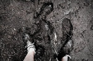 muddy footprints
