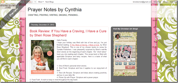 Prayer Notes by Cynthia before screen shot