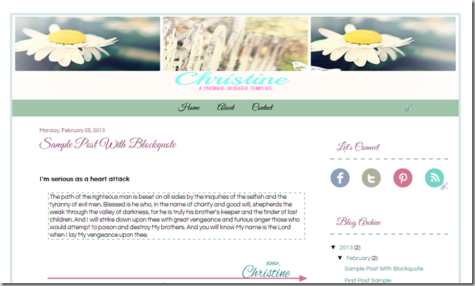 Christine_White| A Premade Blogger Template